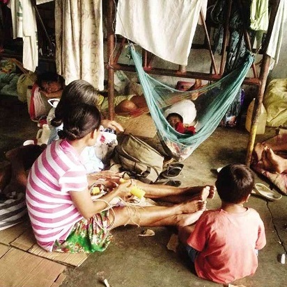 Evacuees from Loreto, Agusan del Sur, seek refuge in Davao City, the Philippines. (Philippine Daily Inquirer)