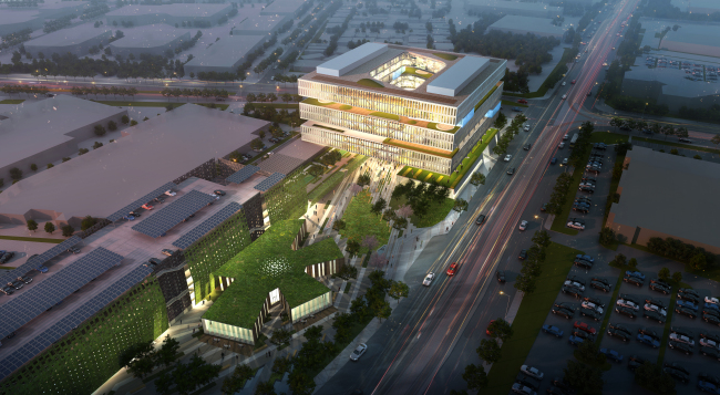 Image of Samsung's new headquarters under construction in San Jose