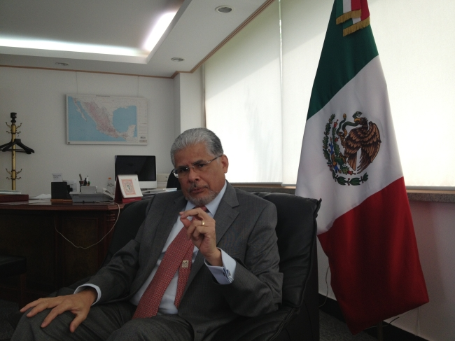 Mexican Ambassador to South Korea Jose Luis Bernal gestures during an interview with The Korea Herald at his office in Hannam-dong, Seoul, Monday. (Philip Iglauer/The Korea Herald)