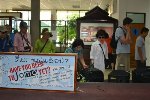 A group of Korean tourists at Luang Prabang Airport in August. (Vientiane Times)