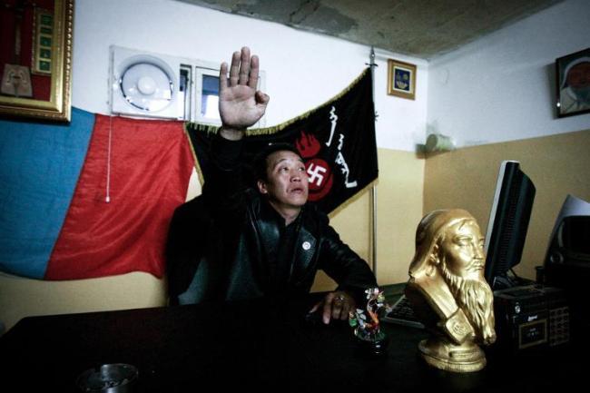 Ariunbold Altankhuu, a leader of the Mongolian neo-Nazi environmentalist group Tsagaan khas (White Swastika), salutes in Ulan Bator, Sept. 12. (AFP)