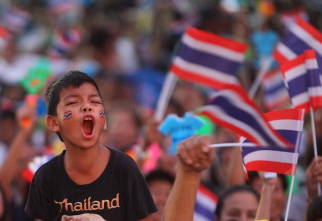 A young boy protests against Thailand's proposed bill that would grant blanket amnesty to all law offenders before and after the 2006 coup. The bill has passed the House of Representatives. (The Nation)