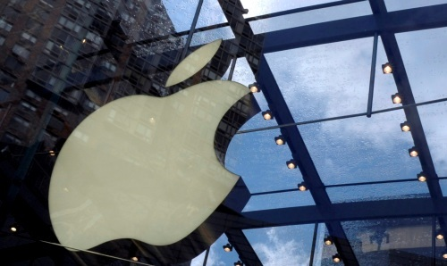 The Apple Inc. logo is displayed at the company's store on Broadway in New York. (Bloomberg)