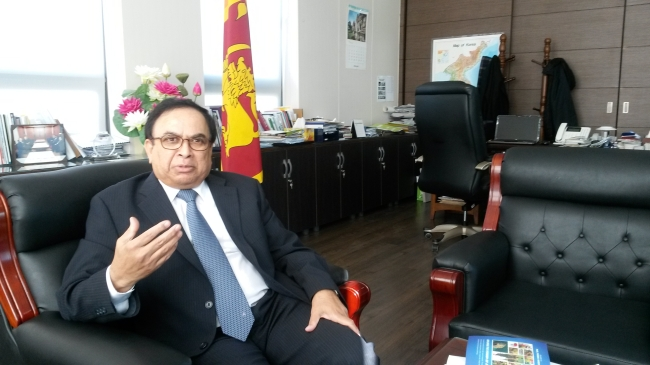 Sri Lankan Ambassador to South Korea Tissa Wijeratne gestures during an interview with The Korea Herald at his office in Seoul on Nov. 7. (Philip Iglauer/The Korea Herald)