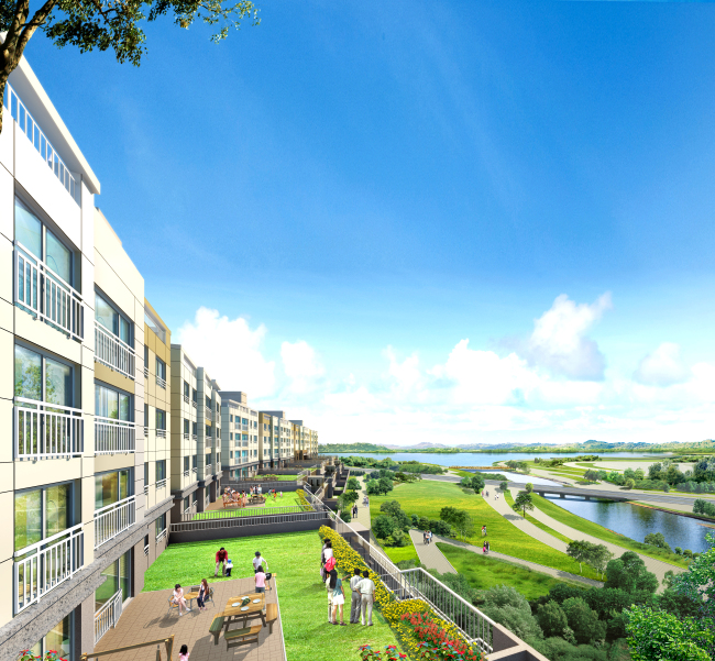 An artist's rendering of 36 luxury homes with a terrace at POSCO's The Sharp Lake Park apartment complex in Sejong City. (POSCO E&C)