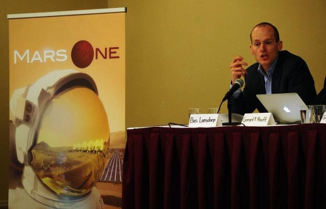 Mars One CEO Bas Lansdorp holds a press conference to announce the launch of astronaut selection for a Mars space mission project, in New York, on April 22. (AFP)