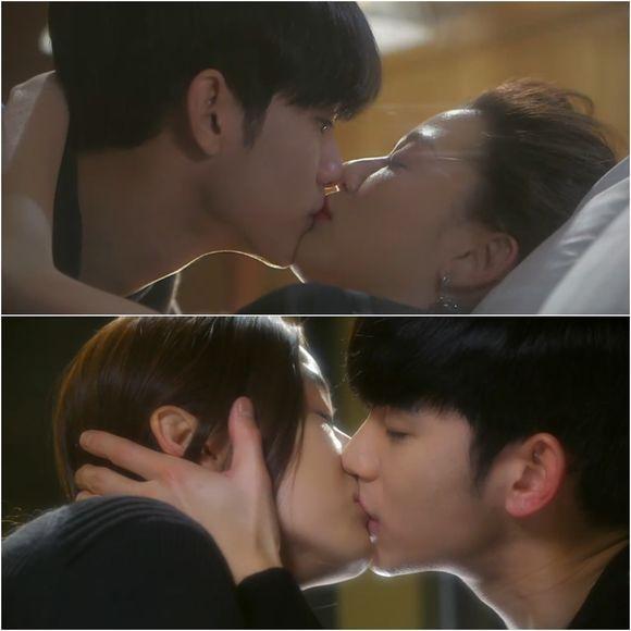 Kim Soo-hyun and Jun Ji-hyun are kissing each other in the drama