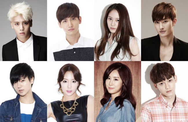 Top row, from left to right: Jonghyun from SHINee, Max Changmin from TVXQ, Krystal from f(x), and Zhoumi from Super Junior-M, Bottom row, from left to right: Yesung from Super Junior, Taeyeon from Girls' Generation, Zhang Li Yin, and Chen from EXO. (SM Entertainment)