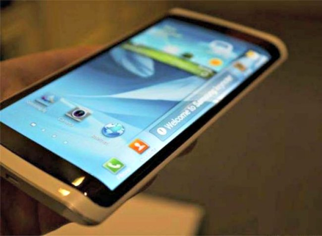 "Samsung unveiled a smartphone with a 14 cm ""bent"" display, which was called Samsung Youm at CES 2013 in Las Vegas. The screen has a curved edge that can display information such as text messages."