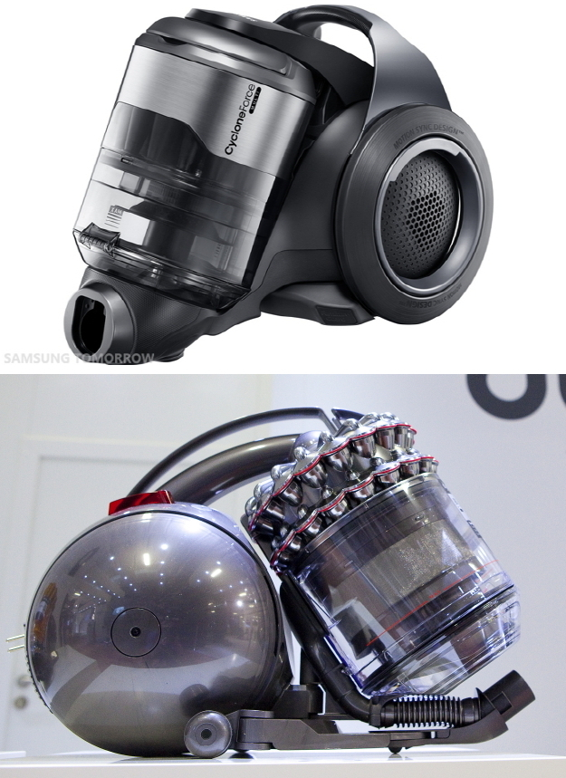 The Samsung Motion Sync vacuum cleaner (top) and a Dyson DC 37 vacuum cleaner (Samsung Electronics, Dyson)