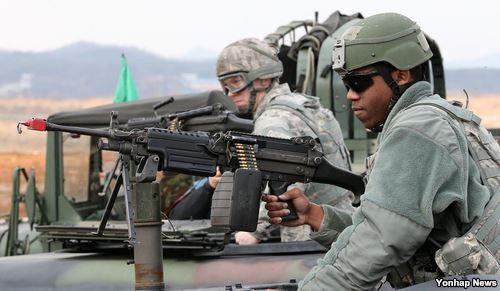 U.S. troops in Korea participate in a joint military exercise between the two countries. (Yonhap)