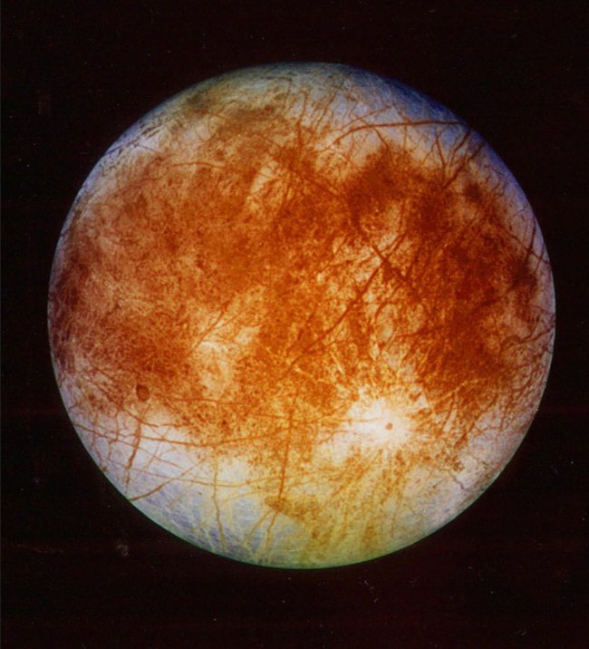 Jupiter's ice-covered moon Europa (AP-Yonhap)