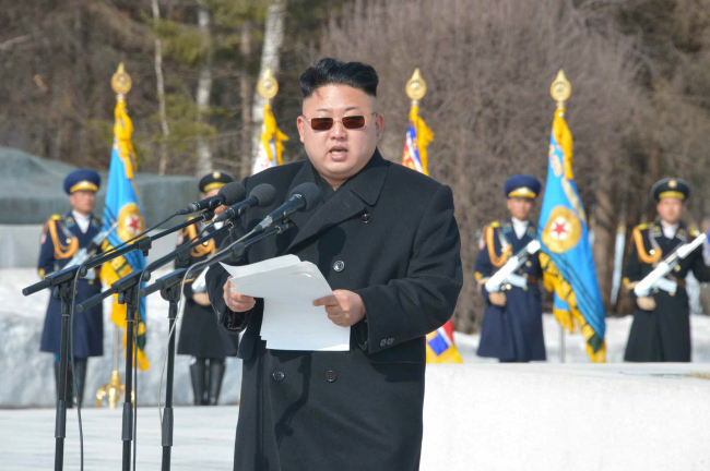 North Korean leader Kim Jong-un delivers a speech at a rally of military commanders on Tuesday. Yonhap News