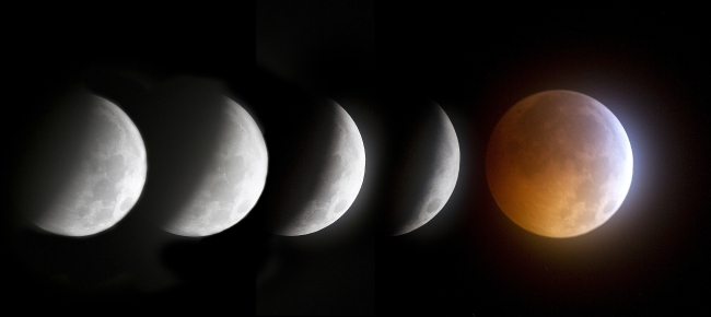 This five-exposure sequence shows a lunar eclipse in 2010. (MCT)