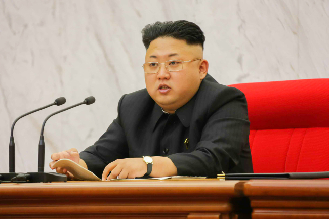 North Korean leader Kim Jong-un speaks at a party meeting in Pyongyang on Tuesday. (Yonhap)