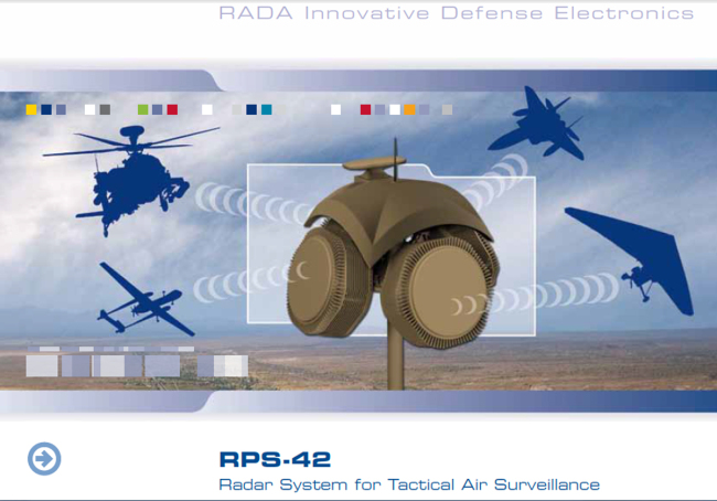 The website of Rada Electronic Industries, which produces RPS-42 Tactical Air Surveillance Radar System (Yonhap)