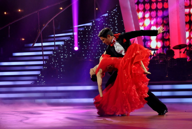 """A scene from season three of """"Dancing with the Stars,"""" which aired on MBC last year. The show pairs celebrities with professional dance partners to compete in a weekly contest. (MBC)"""