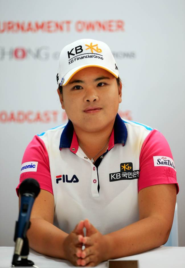 Korea's Park In-bee speaks to the media on Tuesday. (AFP-Yonhap)