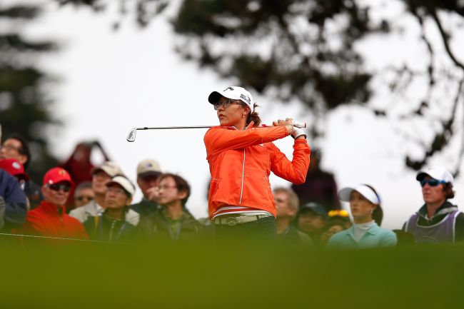 Lydia Ko tees off during the first round of the Swinging Skirts LPGA Classic on Thursday. ( AFP-Yonhap)