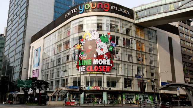 A Lotte mall in Myeong-dong is decorated with Line's characters, called Line Friends.(Line Corp.)
