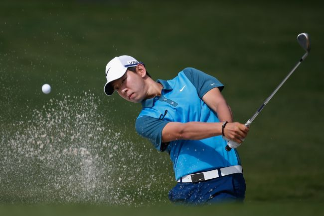 Korea's Noh Seung-yul plays a shot on the 11th hole at the Colonial on Thursday. (AFP-Yonhap)