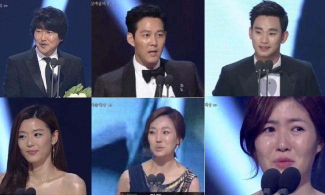 Clockwise from top left: Song Gang-ho, Lee Jung-jae, Kim Soo-hyun, Shim Eun-kyung, Jin Kyung and Jun Ji-hyun. (JTBC)