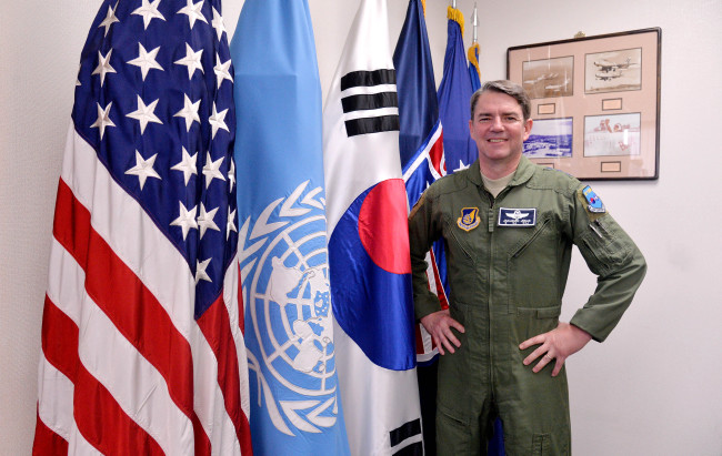 Lt. Gen. Jan-Marc Jouas, deputy commander of the U.S. Forces Korea and commander of the 7th Air Force, poses in his office at Yongsan Garrison in Seoul after an interview with The Korea Herald this week. (Lee Sang-sub/The Korea Herald)