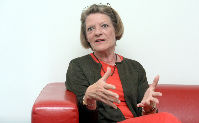 Anne Marie Sloth Carlsen, director of the U.N. Development Program's Seoul Policy Center, speaks during a recent interview with The Korea Herald at her office in Seoul. (Ahn Hoon/The Korea Herald)