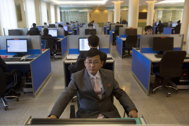North Korean students work in a computer lab at Kim Il-sung University in Pyongyang. (AP-Yonhap)