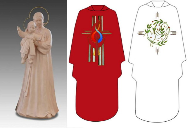 This statue of the Holy Mother with baby Jesus in traditional Korean clothes, was prepared by a group of Korean nuns for Pope Francis' scheduled visit to Korea next week. Robes for the pope were also made by the nuns. (Preparatory Committee for the Visitation of the Holy Father)