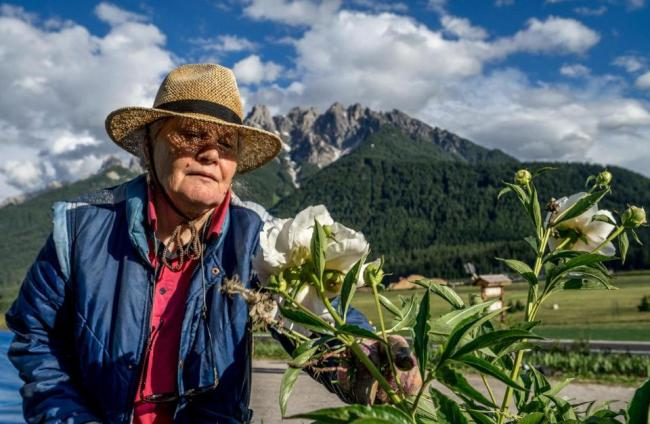 Sieglinde Taschler tends to the flowers at her hotel at the village of Toblach in South Tyrol, Italy's German-speaking northern region. (AFP)