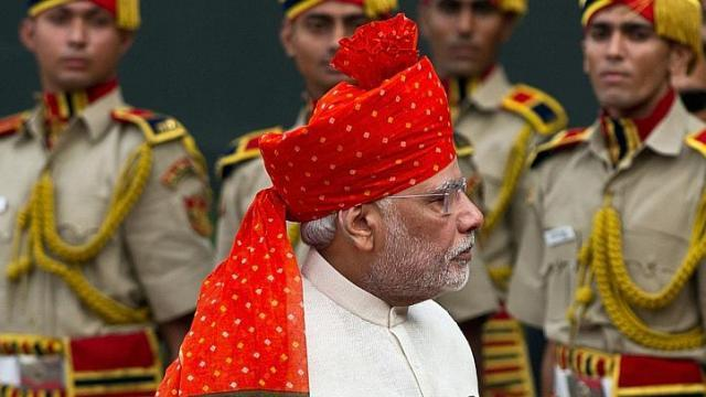 Indian Prime Minister Narendra Modi inspects the honor guard on India's 68th Independence Day on Aug. 15. (AFP)