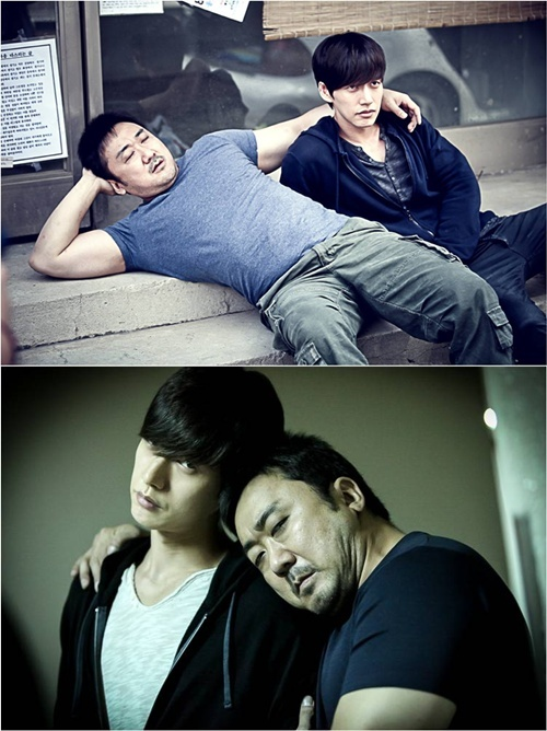 Actors Ma Dong-suk(top left) and Park Hae-jin (top right) take a break between the scenes for OCN's new television series
