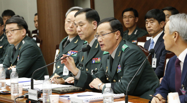 Bae Nak-jong, head of the Criminal Investigation Command under the Defense Ministry, speaks during a parliamentary audit at the ministry building in Seoul on Wednesday. (Yonhap)
