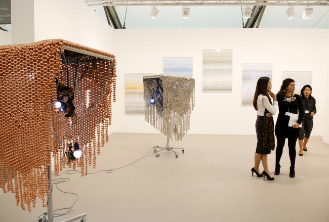 Visitors view artworks by Korean artists at Frieze Art Fair. (Frieze Art Fair)