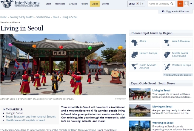 A screen capture shows the Living in Seoul page of the Internations expats' website.