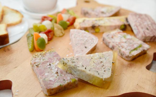 La Cave du Cochon's selection de charcuterie du moment includes the fromage de tete, the cherry-studded pate en croute and the decadent Lucullus de Valenciennes