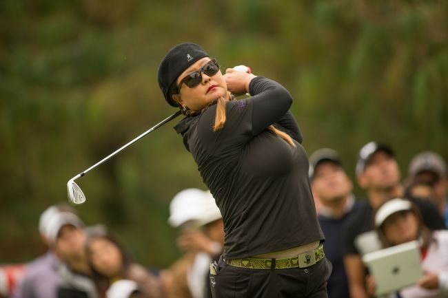 Christina Kim tees off on the third hole on Saturday. (AFP-Yonhap)
