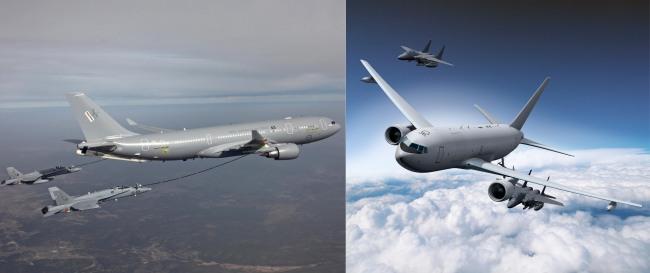 Airbus' A330 MRTT (left), Boeing's KC-46