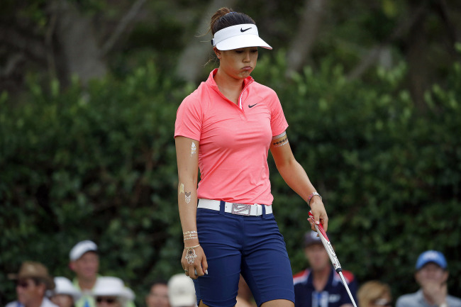 Michelle Wie expresses frustration on Saturday. (AP-Yonhap)