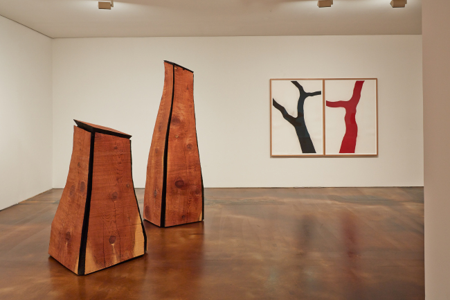 Installation view of wood sculptures by David Nash. (Keith Park/Kukje Gallery)