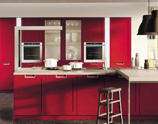 A classic design in a bold color: Snaidero's Lux Classic framed cabinets in a ginger red matte lacquer (Snaidero)