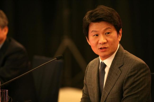 Hyundai Development Co. chairman Chung Mong-gyu talks to reporters on Monday in Seoul. (Hyundai Development Company)