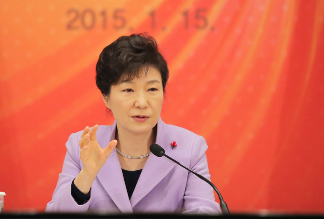 President Park Geun-hye speaks before being briefed by the five economy-related ministries at Cheong Wa Dae on Thursday. (Yonhap)