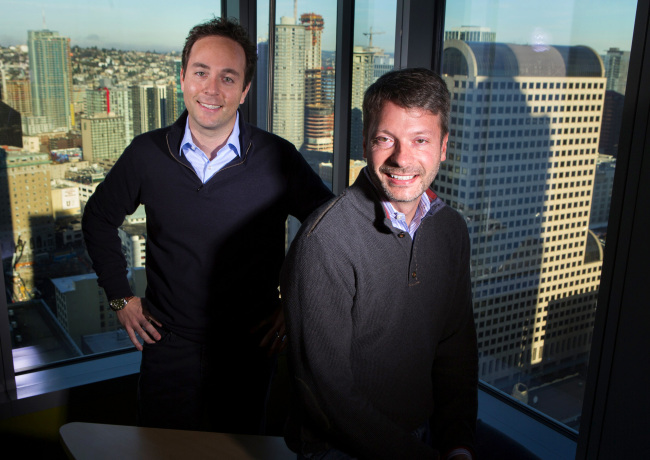 Zillow CEO Spencer Rascoff (left) and chief economist Stan Humphries pose in their downtown Seattle office. (Ellen M. Banner/Seattle Times/TNS)