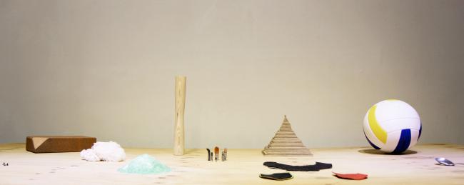 """Wood, Big Nail, Volleyball, Brush, Soju Glass, Spoon, Cloth, Table and Name Tag"" by Jeong Ki-hoon. (Kumho Museum of Art)"