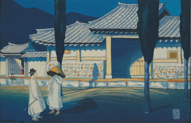 """Korean Farm House under the Moonlight"" by Lilian May Miller (Gana Foundation for Arts and Culture)"