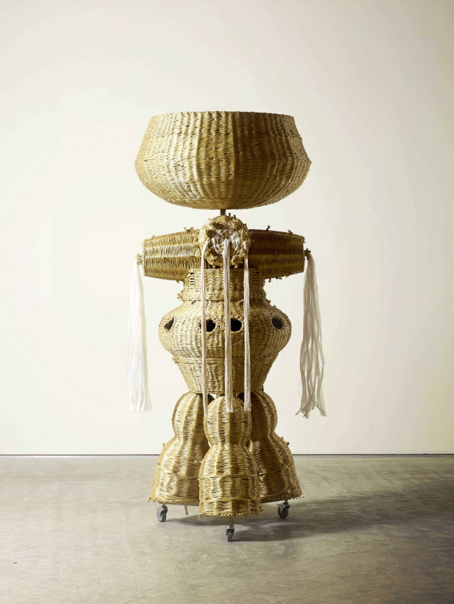 """""""The Intermediate — Basket Totem on Triple Leg"""" by ang Haegue (Courtesy of the artist)"""