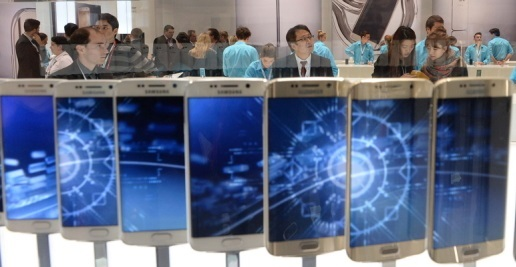 Samsung Electronics booth at the Mobile World Congress in Spain (Yonhap)