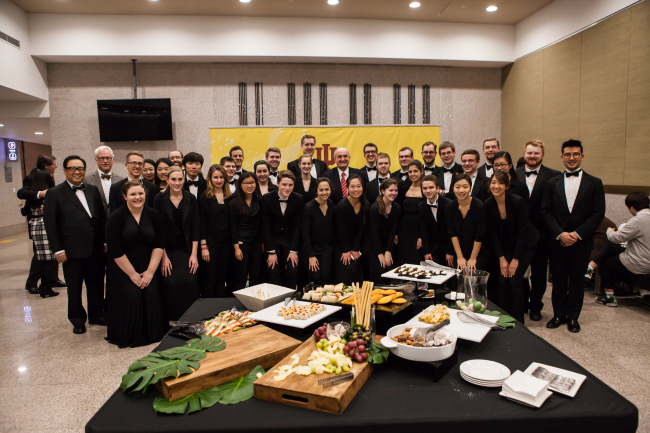 Students and faculty of the Indiana University Jacobs School of Music pose during the chamber orchestra's first concert in Asia at the Seoul Arts Center's IBK Chamber Hall on Saturday. (Seoul Cyber University)